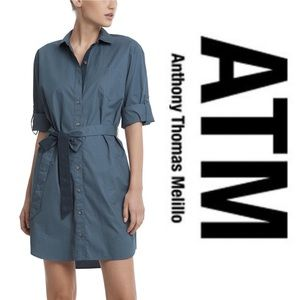 ATM • Blue Poplin Shirtdress • NWT